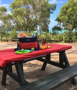 Red, NZ Made, Elasticated, Fitted Picnic Table Covers