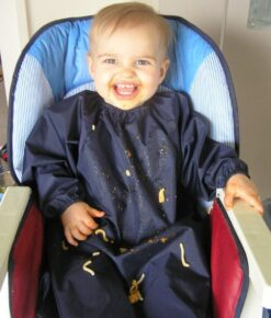 NZ-Made Navy Long Sleeve Bibs for Toddlers and Preschoolers